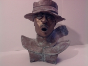 sculpture personnages creation libre contemporain peinte : coup de vent